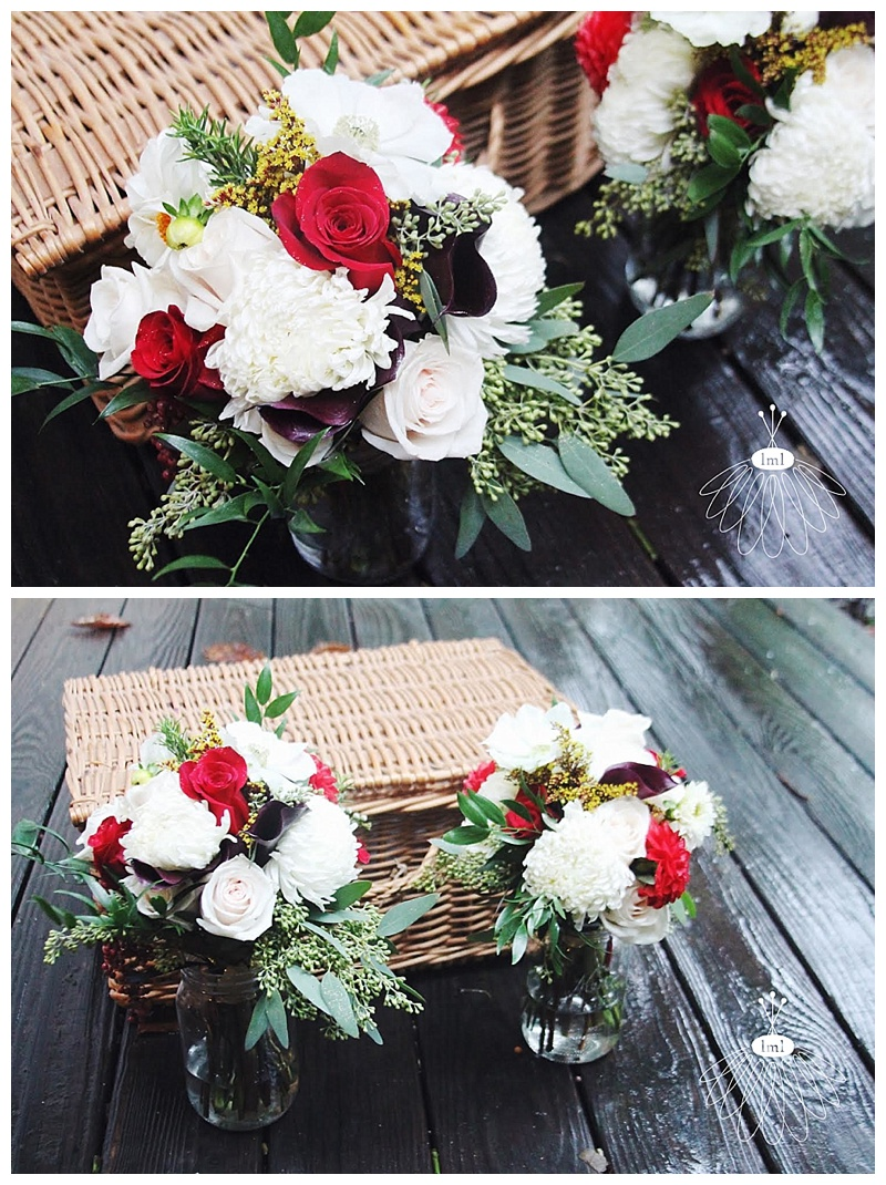 little miss lovely // ivory red bridesmaid bouquets