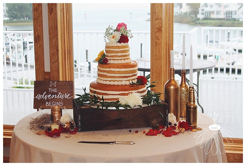 little miss lovely // ocean pines md wedding florist naked cake by desserts by rita