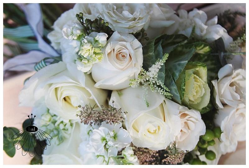 little miss lovely // ocean city green and white wedding flowers