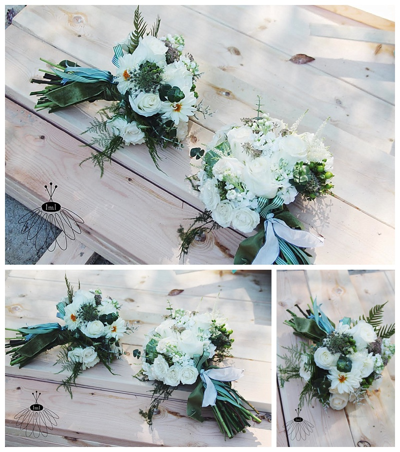 little miss lovely // ocean city green and white wedding bouquets