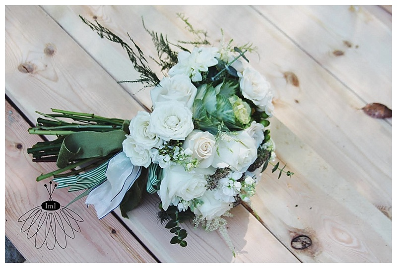little miss lovely // ocean city green and white wedding bouquet