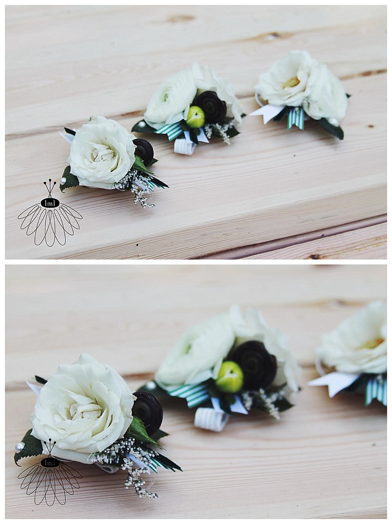 little miss lovely // ocean city wedding florist green and white wrist corsage