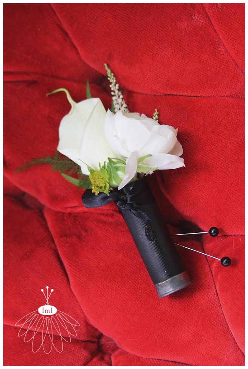 black and white shotgun shell boutonniere // little miss lovely // Ocean City Maryland wedding florist