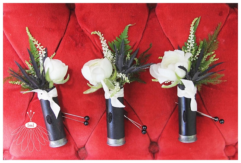 black and white shotgun shell boutonnieres // little miss lovely // Ocean City Maryland wedding florist