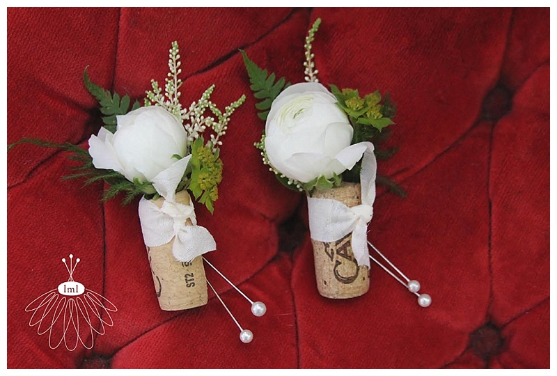 wine cork white ranunculus corsage boutonniere // little miss lovely // ocean city md wedding florist