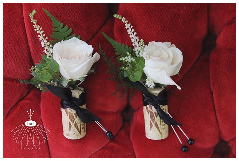 wine cork ivory spray rose corsage boutonniere // little miss lovely // ocean city md wedding florist