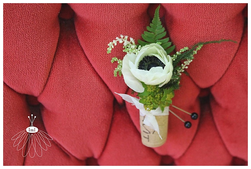 wine cork white anemone corsage boutonniere // little miss lovely // ocean city md wedding florist
