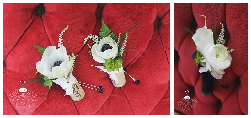 wine cork corsages and shotgun shell boutonniere // little miss lovely // Ocean City wedding florist