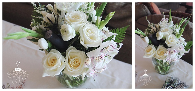 white ivory shotgun shell wedding centerpiece // little miss lovely // ocean city maryland wedding florist