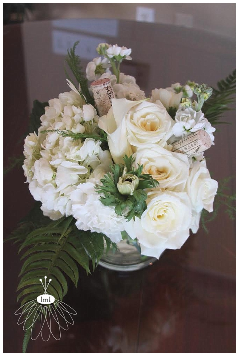 white ivory wine cork wedding centerpiece // little miss lovely // berlin maryland wedding florist