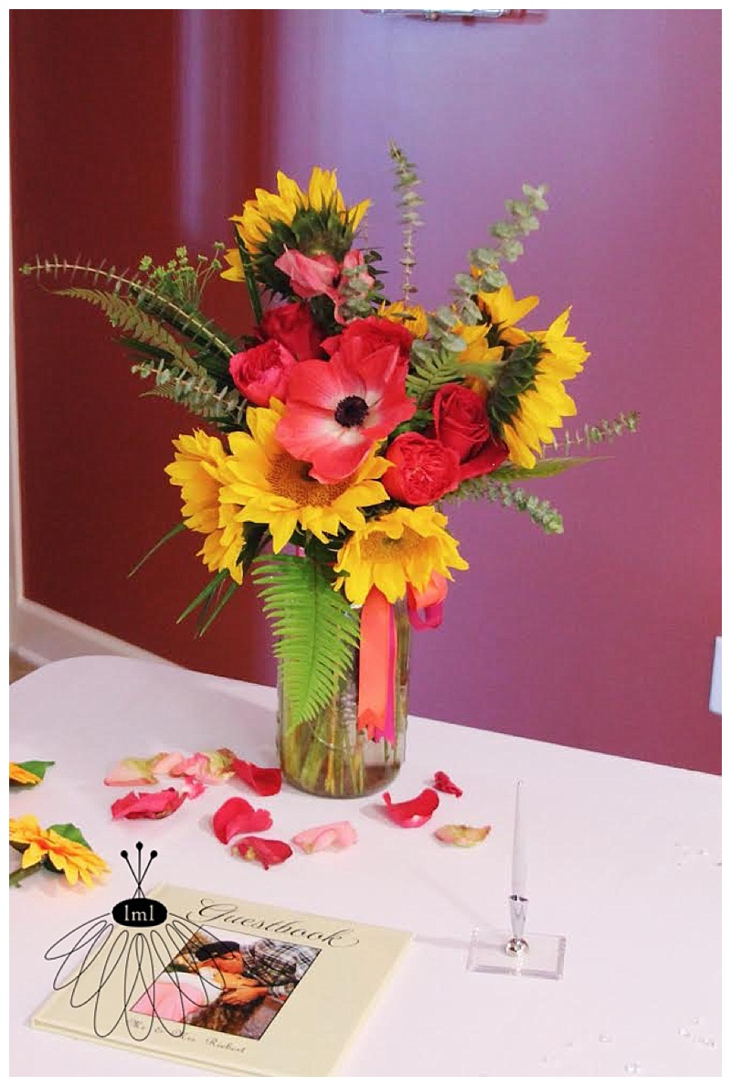 sunflower and anemone flower arrangement // little miss lovely // pocomoke fire hall wedding
