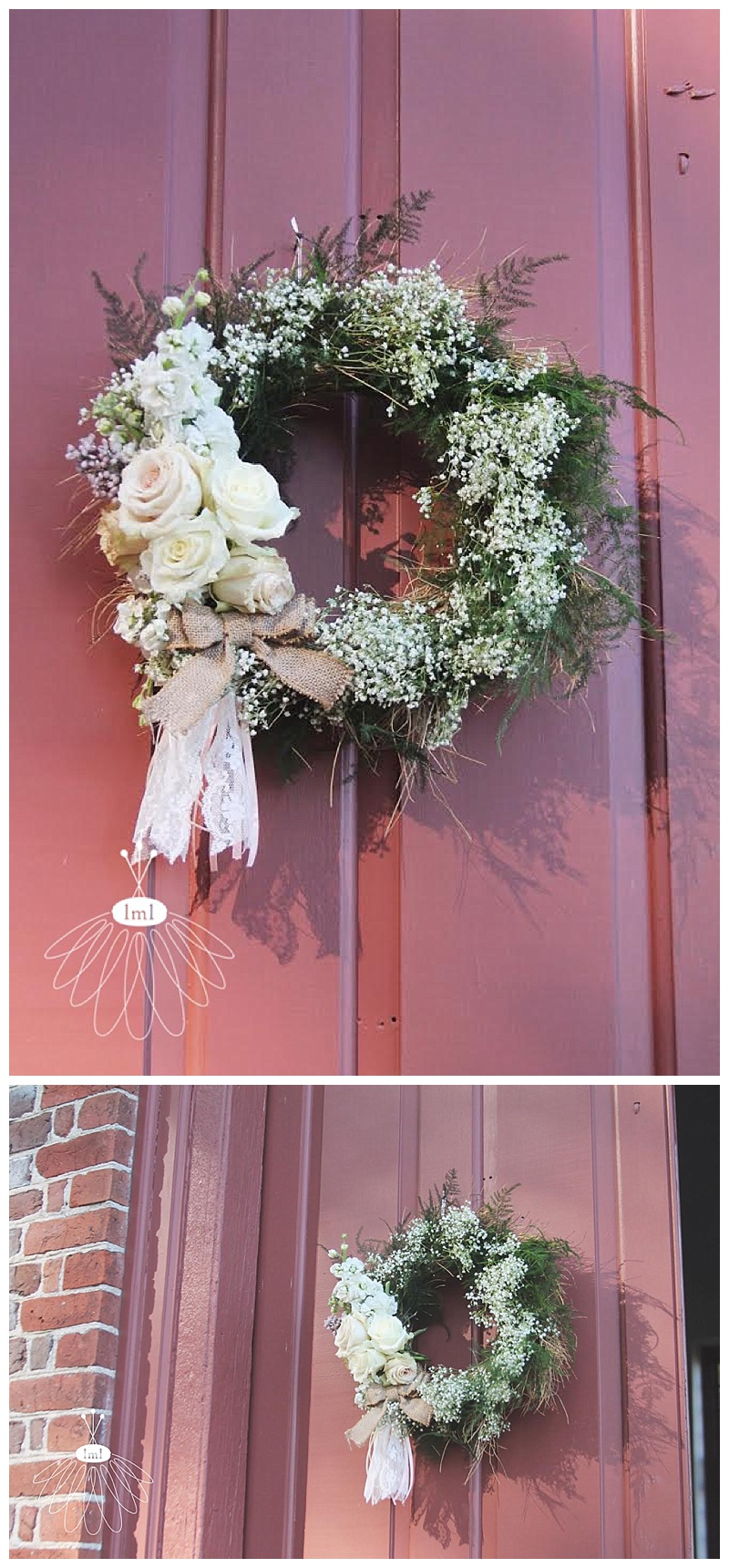 babys breath and rose wreath // little miss lovely // berlin md wedding florist