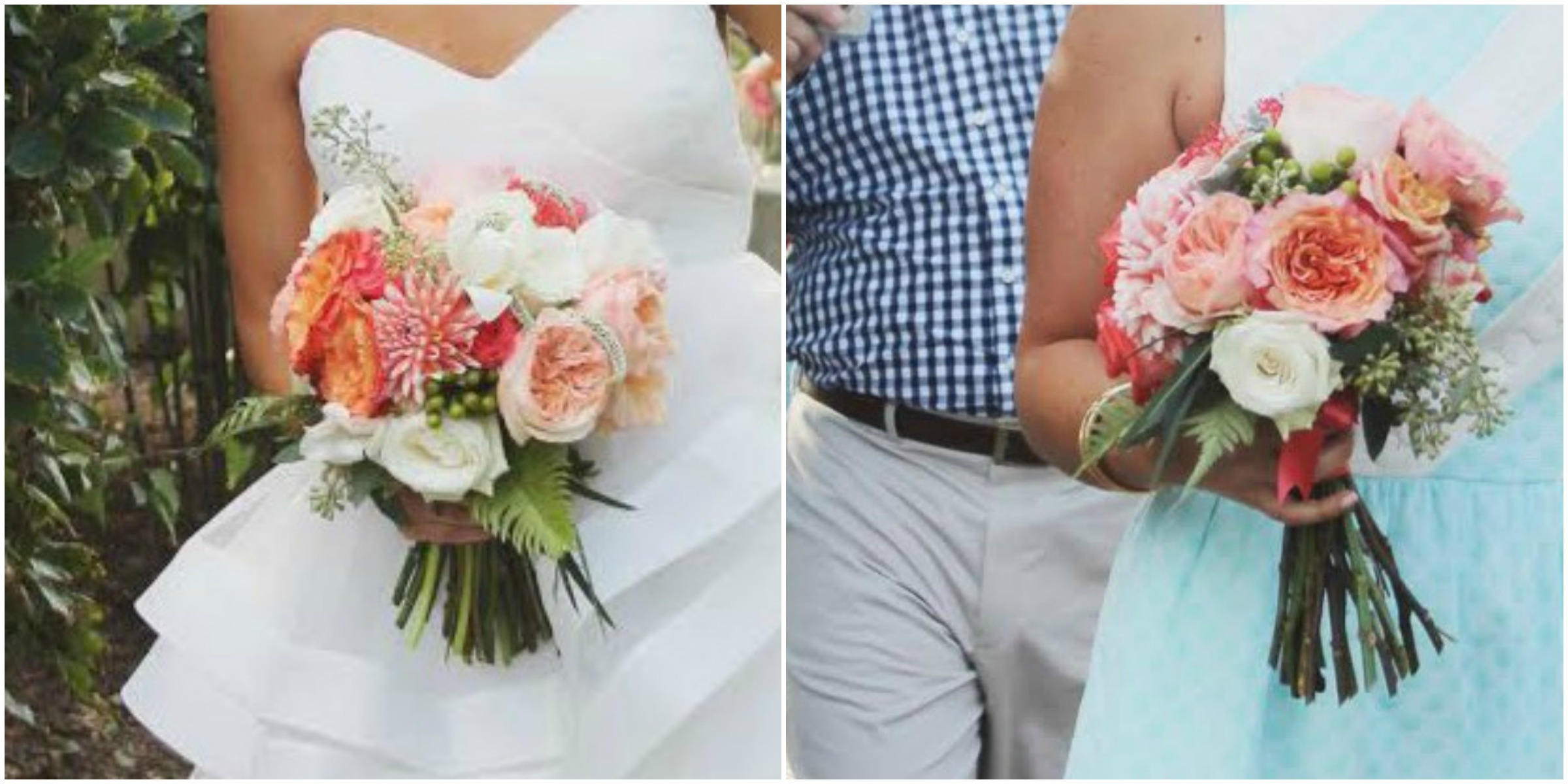 little miss lovely // ocean city maryland wedding florist // coral white bouquets