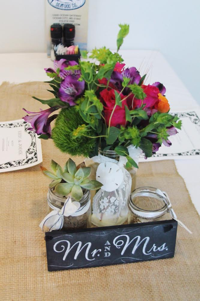 succulent and flower mason jar centerpieces // little miss lovely // ocean city wedding florist