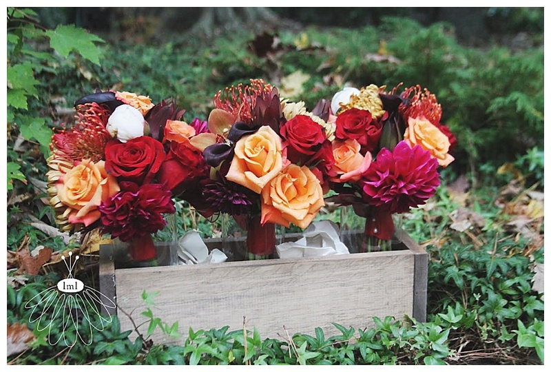 little miss lovely // orange red purple wedding bouquet // autumn fall wedding ocean city maryland