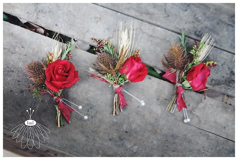 little miss lovely wedding florist // rose and thistle boutonnieres with wheat