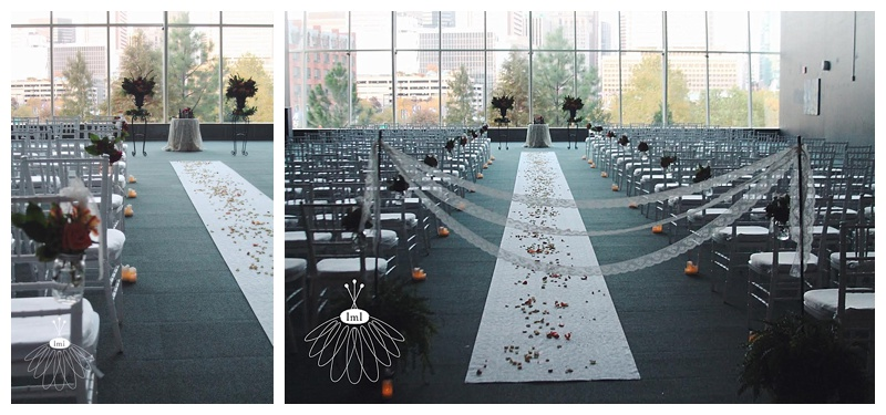 little miss lovely // indoor ceremony with mason jar aisle flowers // maryland science center