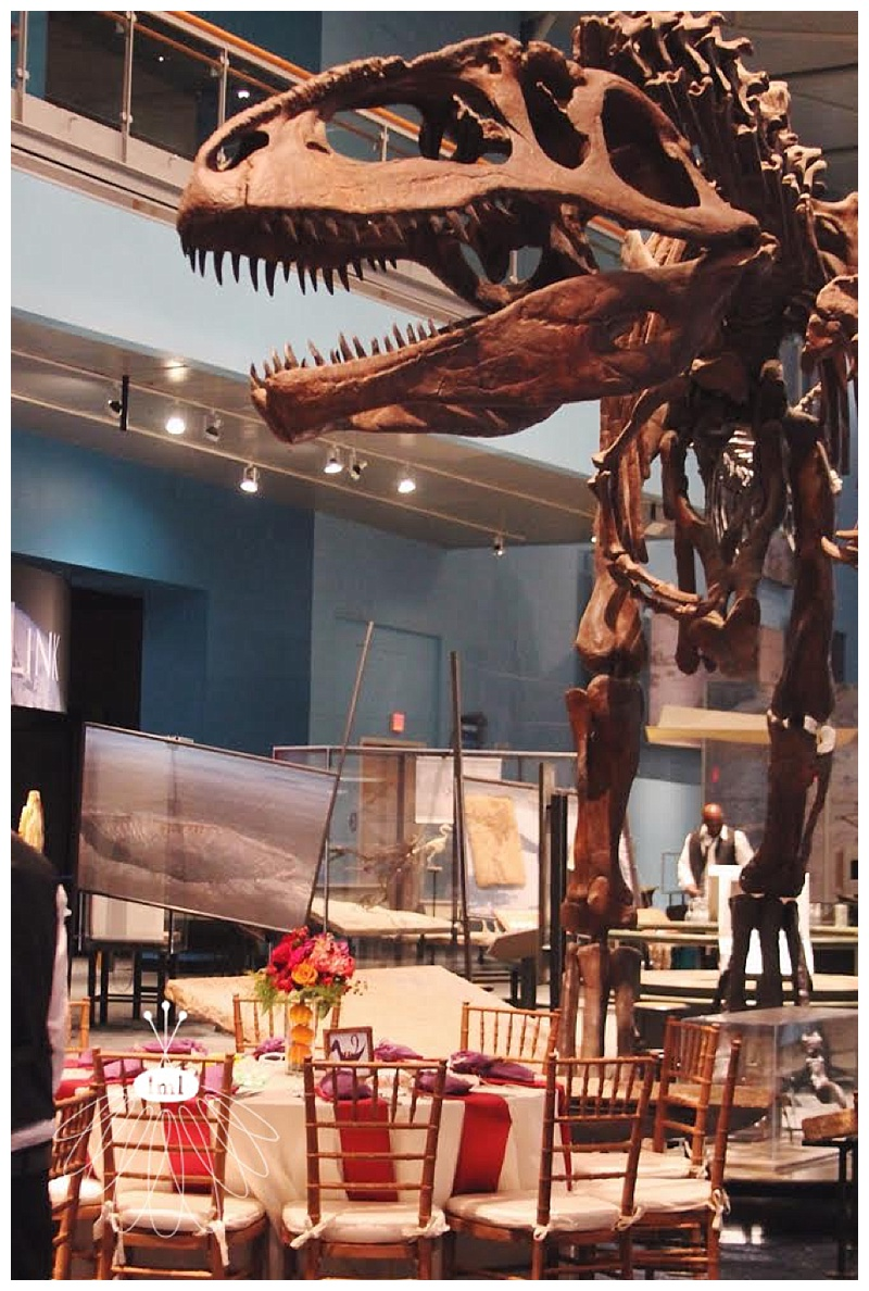 little miss lovely // baltimore maryland science center wedding florist // tree skeleton dinosaur wedding