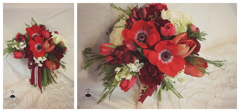 little miss lovely // berlin maryland garden style wedding florist // red and white winter bouquet