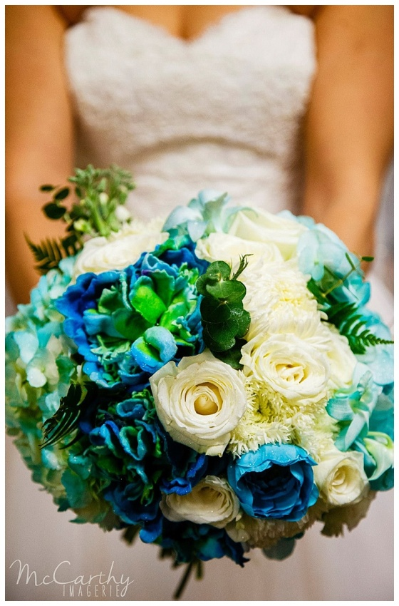 teal & white bridal bouquet // little miss lovely berlin md florist // photo by McCarthy Imagerie