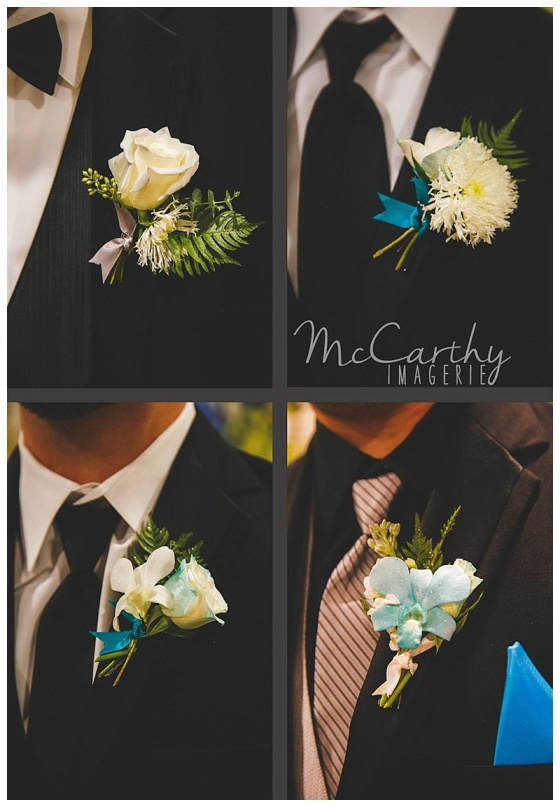 teal & white boutonnieres // little miss lovely berlin md florist // photo by McCarthy Imagerie