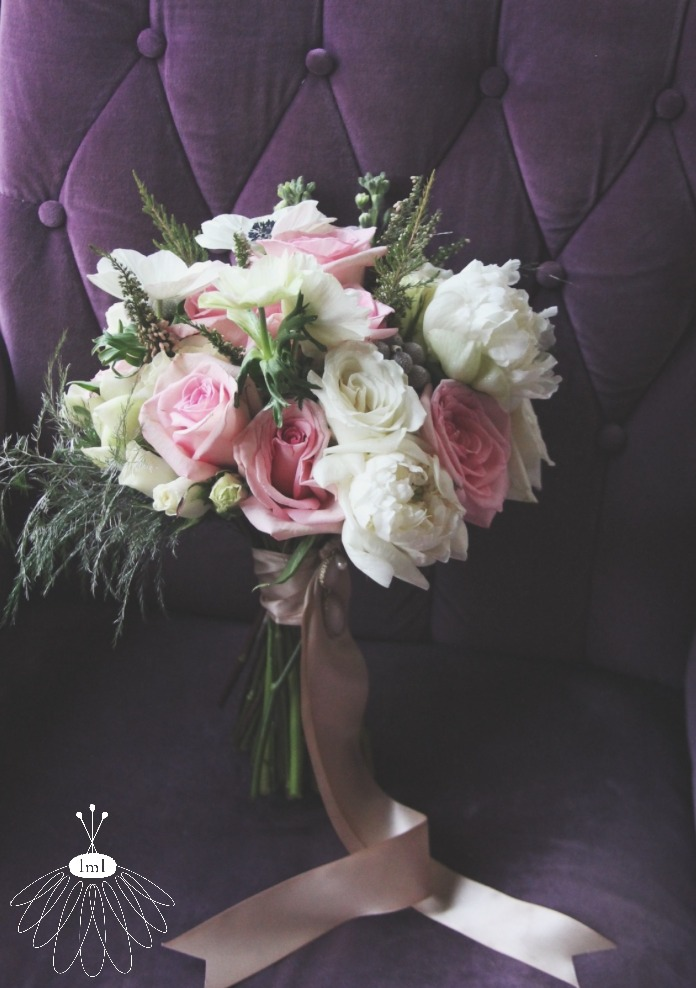 winter white and pale pink wedding bouquet // anemone and peony bridal bouquet // little miss lovely west ocean city event florist