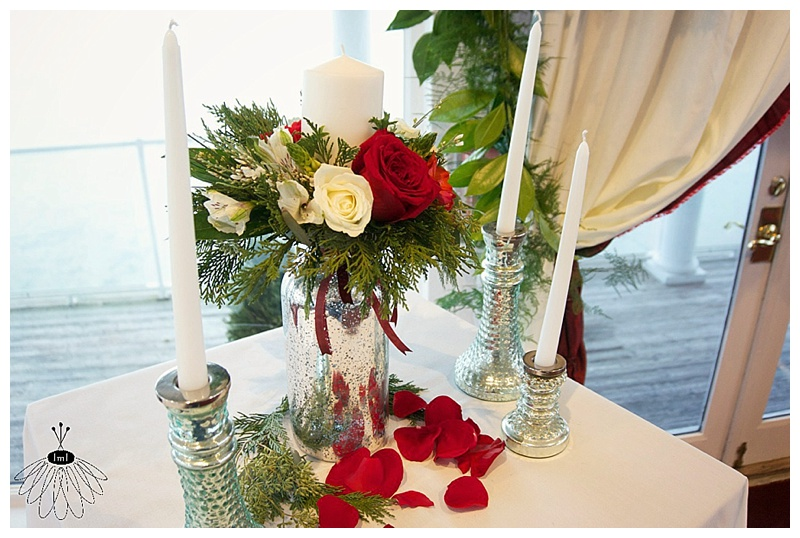 little miss lovely floral design // winter white and red at fagers island // unity candle display
