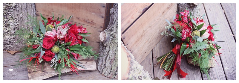 red and white winter wedding bridesmaid bouquet // little miss lovely floral design ocean city maryland