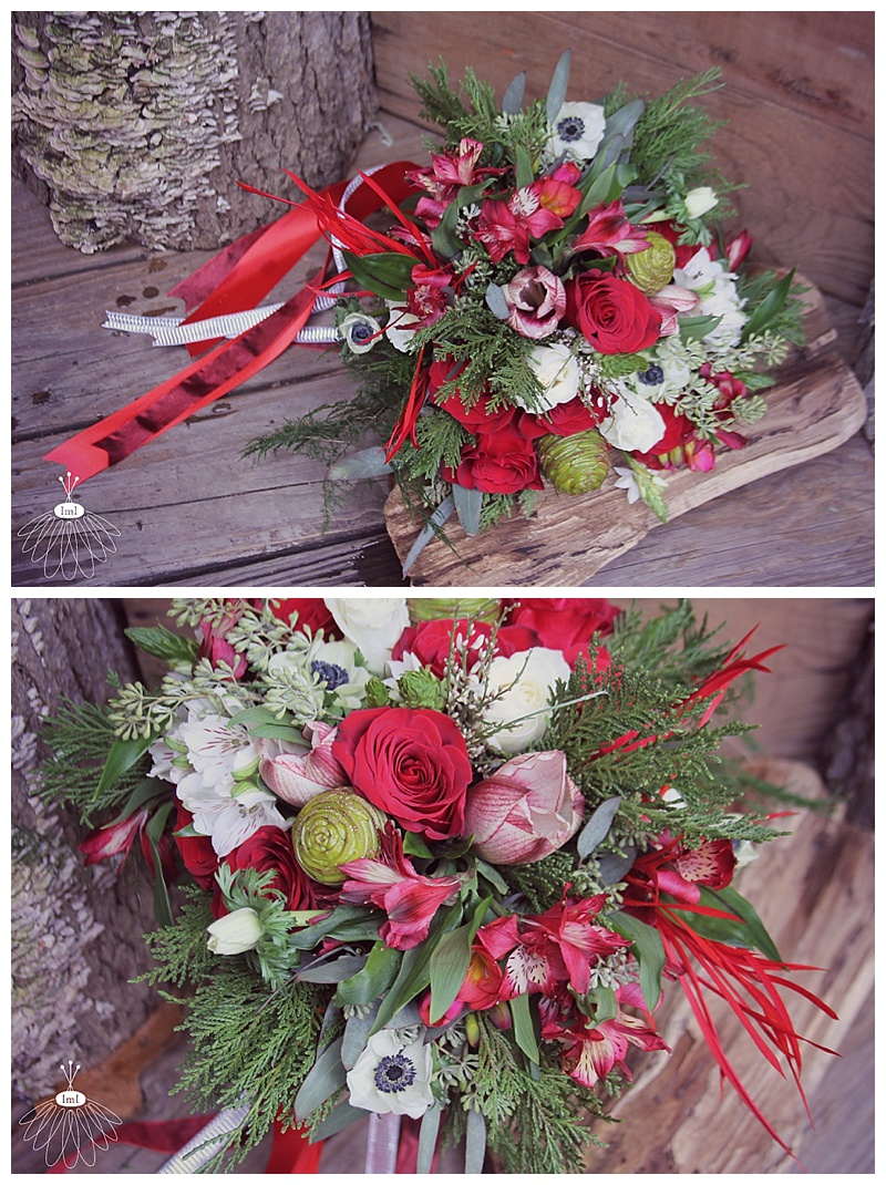 red and white winter wedding bouquet // little miss lovely floral design ocean city maryland