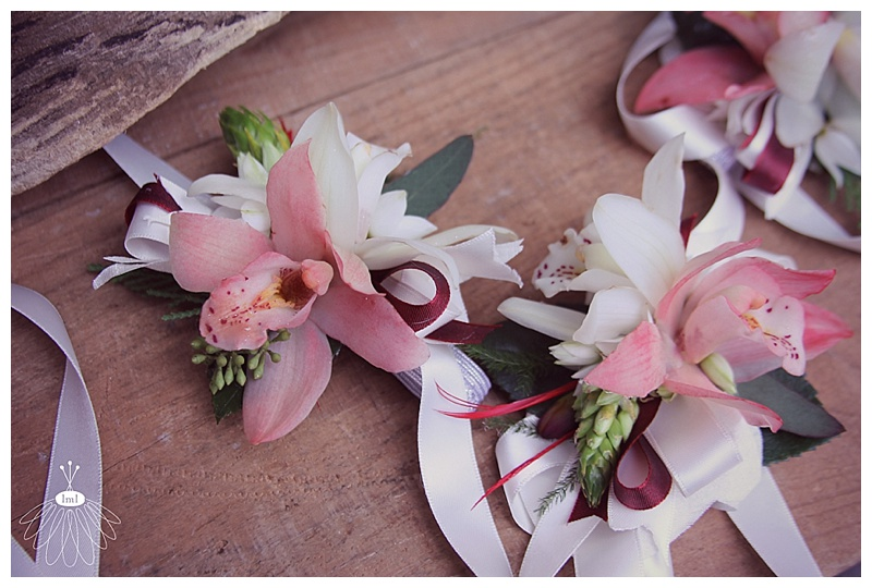red and white orchid wrist corsage // little miss lovely floral design ocean city maryland