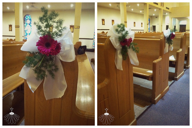 little miss lovely // ocean city maryland md wedding florist // pew bow with gerber daisy