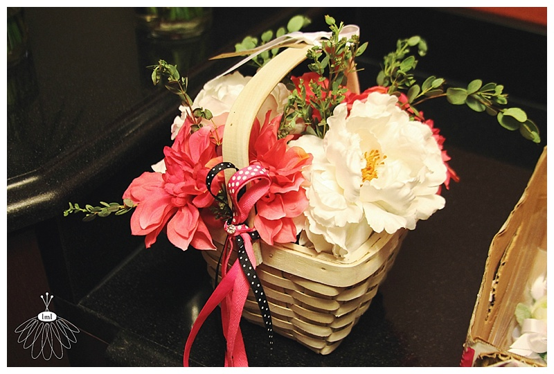 little miss lovely // ocean city maryland wedding florist // white and pink flower girl basket