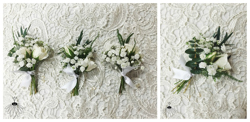 little miss lovely floral design // ocean city md // beach wedding boutonnieres // babys breath and greenery