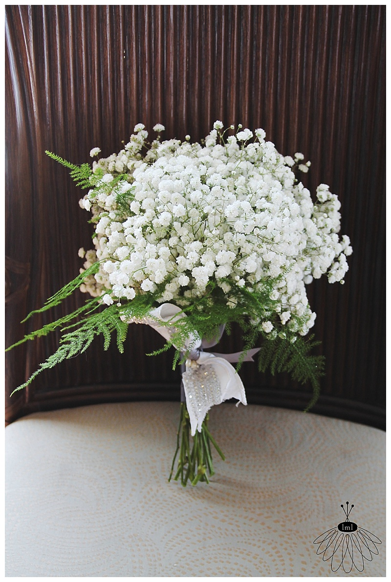 little miss lovely floral design // april wedding bouquet // babys breath and fern bouquet // ocean city maryland florist