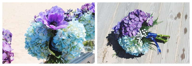 little miss lovely floral design // ocean city wedding florist // purple and blue hydrangea bouquets