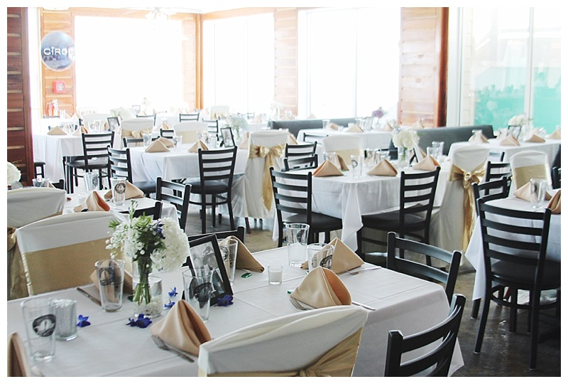 little miss lovely floral design // shallow waters ocean city md wedding reception // blue and purple wedding centerpieces