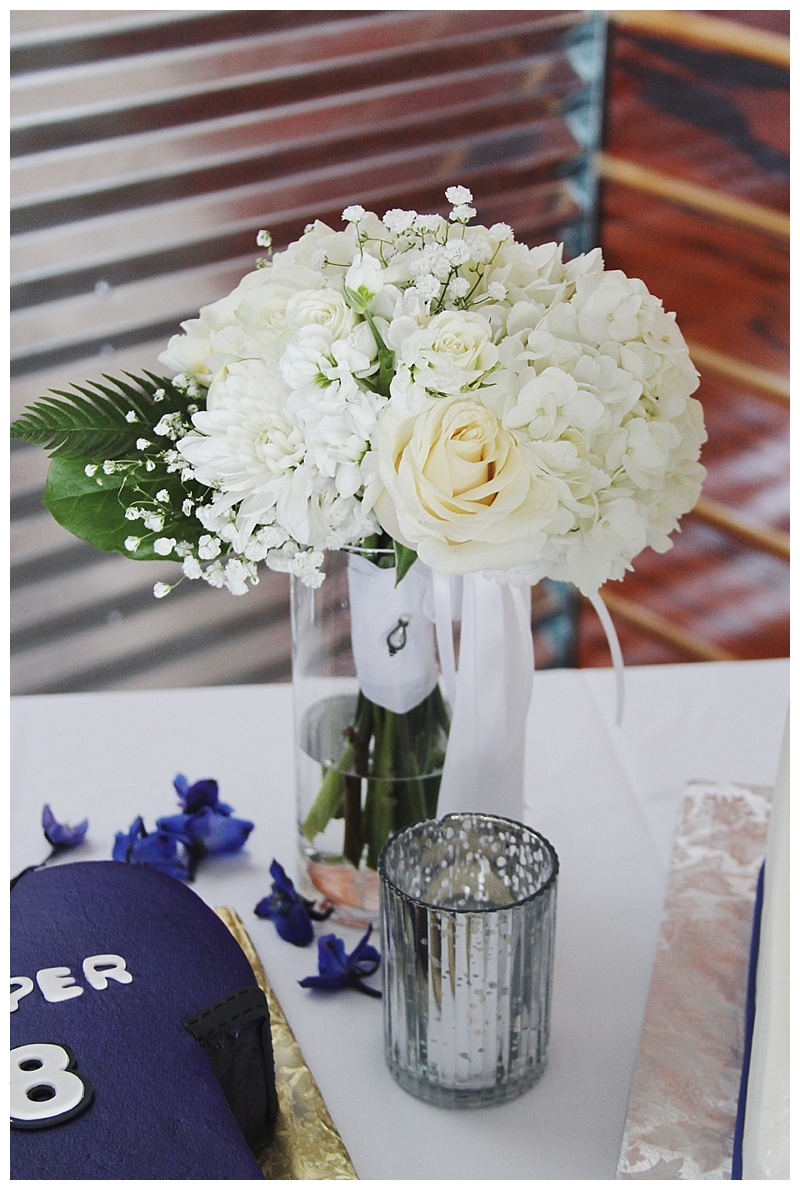 little miss lovely floral design // all white bouquet // toss bouquet