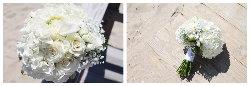 little miss lovely floral design // ocean city md wedding florist // white bouquet with babys breath and calla lilies