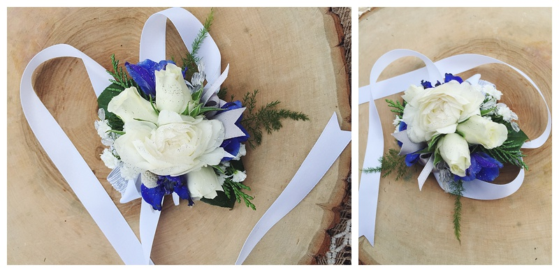 little miss lovely floral design // white and blue wrist corsage for mothers