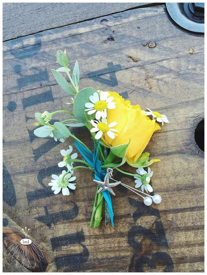little miss lovely floral design // ocean city md wedding florist / beach wedding// daisy and yellow rose boutonniere