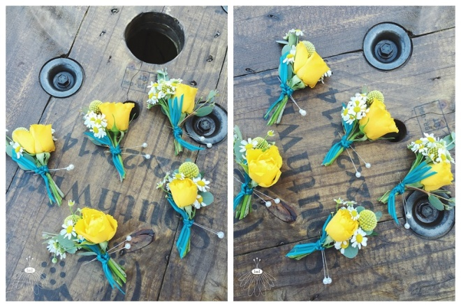 little miss lovely floral design // ocean city md wedding florist / beach wedding// daisy and yellow rose boutonnieres