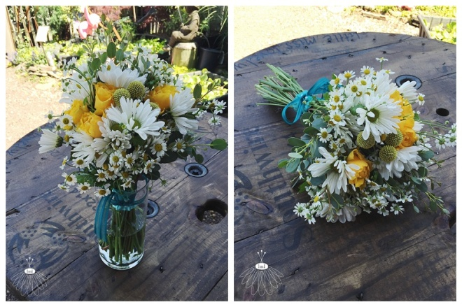 little miss lovely floral design // ocean city maryland wedding florist // daisy and yellow rose bouquet