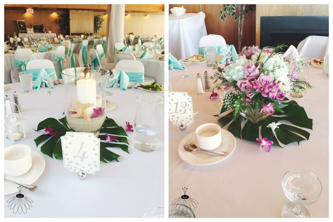 little miss lovely floral design // ocean city md wedding florist // golden sands wedding // purple white teal centerpieces
