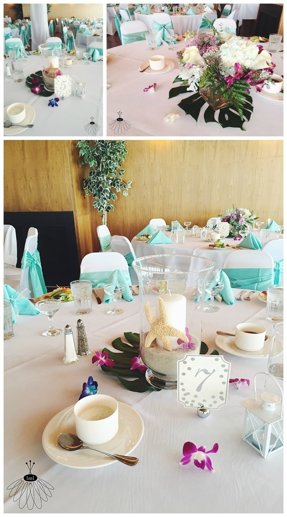 little miss lovely floral design // ocean city md wedding florist // golden sands wedding // purple white teal centerpieces