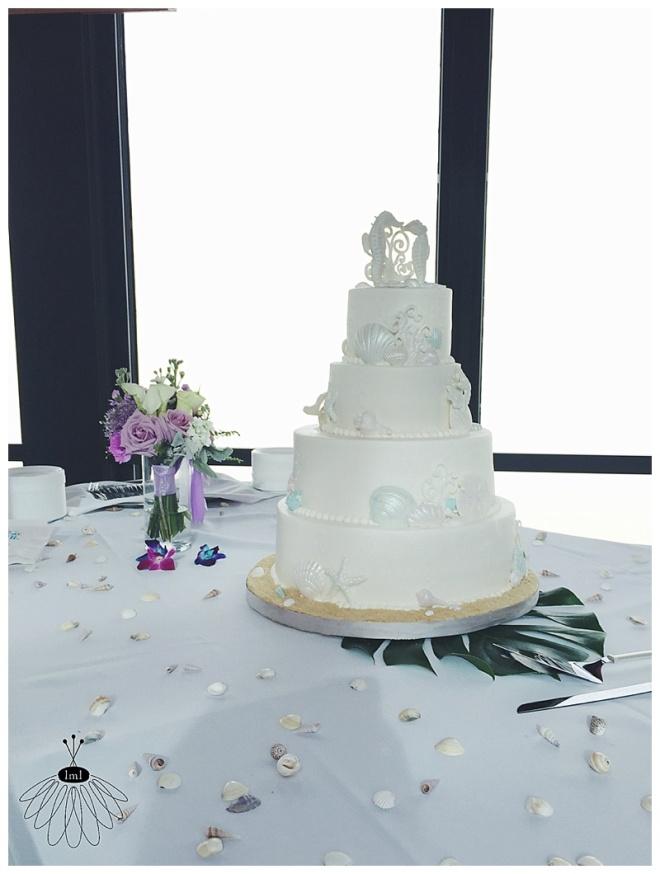 little miss lovely floral design // ocean city md wedding florist // golden sands wedding // purple white bouquets // miss patty cakes wedding cake