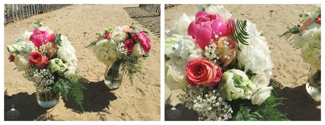 little miss lovely floral design // coral and white bouquet // beach wedding