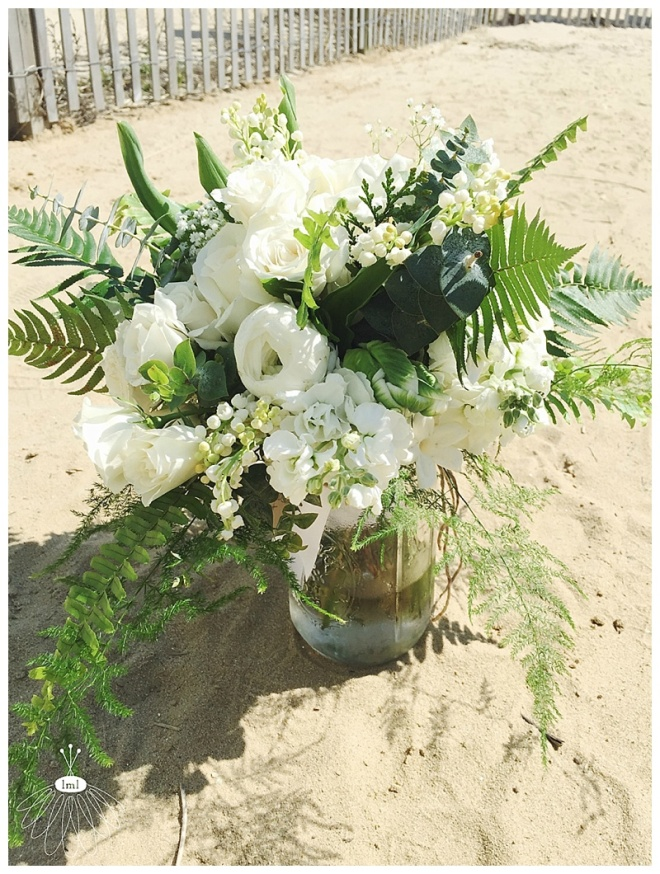 little miss lovely floral design // white and green bouquet // lily of the valley bouquet // ocean city md beach wedding