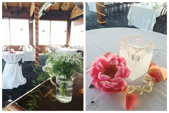 little miss lovely floral design // harrison's harbor watch restaurant wedding reception