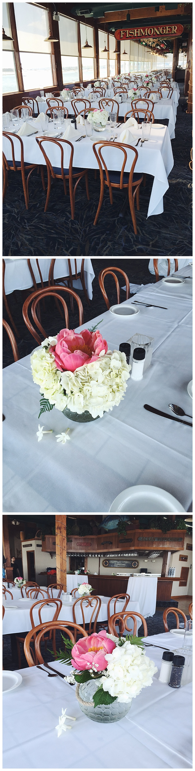 little miss lovely floral design // harrison's harborwatch restaurant wedding reception
