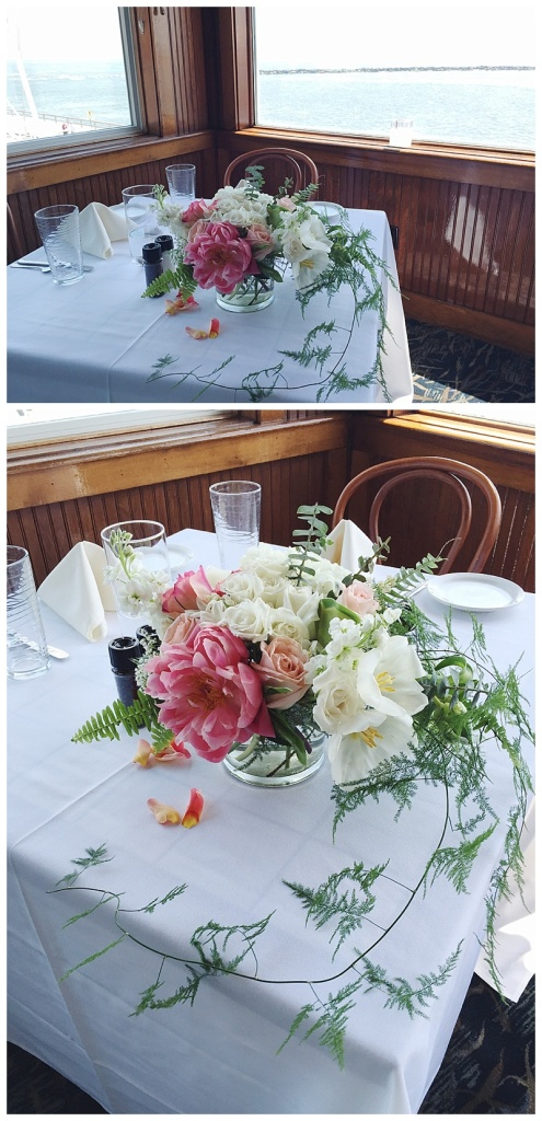 little miss lovely floral design // harrison's harbor watch restaurant wedding reception // white hydrangea coral charm peony centerpieces